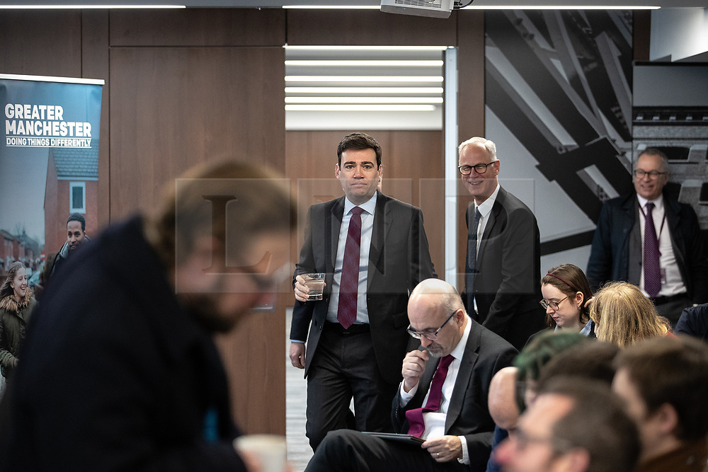 """© Licensed to London News Pictures. 07/01/2019. Manchester, UK. The Metro Mayor of Greater Manchester ANDY BURNHAM arrives to announce a revised plan for new housing (some on greenbelt land) , transport infrastructure , the reduction of pollution and improvements to the environment across the North West , alongside the regeneration of Stockport Town Centre , at an event at etc Venues in Manchester City Centre . The new """" Spatial Framework """" also reaffirms the region's commitment to ban fracking and lists 50,000 new """" affordable """" homes (30,000 of which are specified as social housing) . Photo credit: Joel Goodman/LNP"""