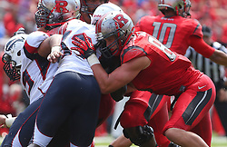 Sep 6, 2014; Piscataway, NJ, USA; Rutgers Scarlet Knights tight end Tyler Kroft (86) blocks during the first half at High Points Solutions Stadium.