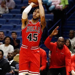 Oct 3, 2017; New Orleans, LA, USA; Chicago Bulls guard Denzel Valentine (45) shoots against the New Orleans Pelicans during the first half of a NBA preseason game at the Smoothie King Center. Mandatory Credit: Derick E. Hingle-USA TODAY Sports