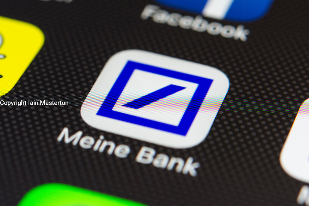 Deutsche Bank online banking app close up on iPhone smart phone screen