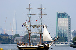 © Licensed to London News Pictures. 05/09/2014<br /> Hundreds of people have flocked to Greenwich to see The Tall Ships sailing down the River Thames.<br /> The Tall Ships festival 2014  starts today, marking the beginning of a week-long festival filled withl displays on the River Thames at Greenwich.<br /> <br /> (Byline:Grant Falvey/LNP)