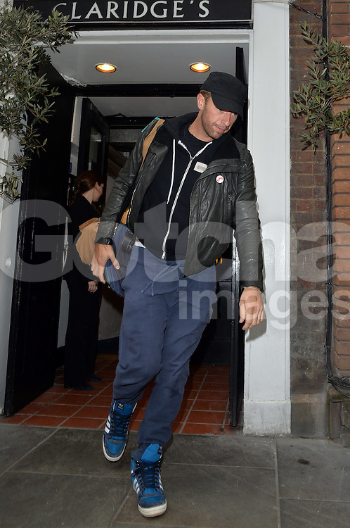 Coldplay frontman Chris Martin pictured leaving Claridges hotel this morning, after partying at The Arts Club with the Beckhams on Sunday night. London, UK. 28/04/2014<br />BYLINE MUST READ : GOTCHAIMAGES.COM<br /><br />Copyright by &copy; Gotcha Images Ltd. All rights reserved.<br />Usage of this image is conditional upon the acceptance <br />of Gotcha Images Ltd, terms and conditions available at<br />www.gotchaimages.com