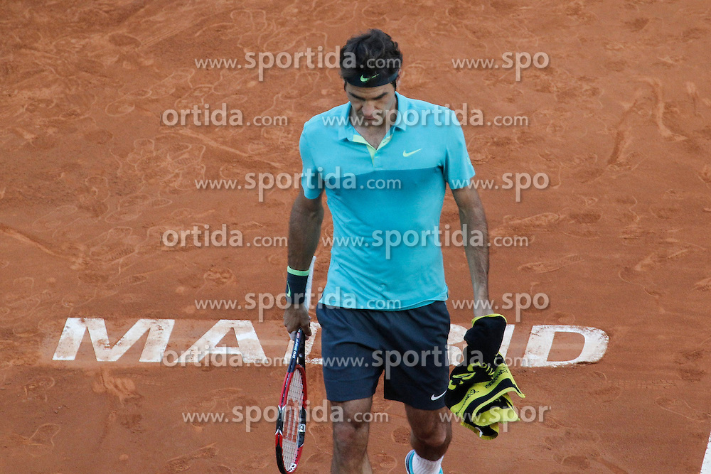 06.05.2015, Caja Magica, Madrid, ESP, ATP Tour, Mutua Madrid Open, im Bild Roger Federer from Switzerland // during the Madrid Open of ATP World Tour at the Caja Magica in Madrid, Spain on 2015/05/06. EXPA Pictures &copy; 2015, PhotoCredit: EXPA/ Alterphotos/ Victor Blanco<br /> <br /> *****ATTENTION - OUT of ESP, SUI*****