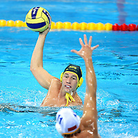 Australian Anthony Martin looks to pass in the match, Australia v Montenegro at the..Yingdong Natatorium of National Olympic Sports Center 18-8-08   ..Photo: Grant Treeby/WSP