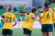 MELBOURNE, VIC - MARCH 06: Samantha Kerr (20) of Australia celebrates as she scores the opening goal during The Cup of Nations womens soccer match between Australia and Argentina on March 06, 2019 at AAMI Park, VIC. (Photo by Speed Media/Icon Sportswire)