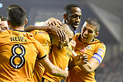 Wolverhampton Wanderers midfielder Romain Saiss (27) scores a goal 1-0 and celebrates during the EFL Sky Bet Championship match between Wolverhampton Wanderers and Fulham at Molineux, Wolverhampton, England on 3 November 2017. Photo by Alan Franklin.