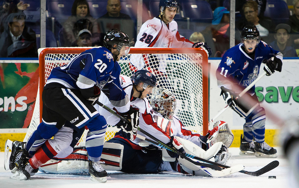 The Victoria Royals hosts the Lethbridge Hurricanes at the Save-on-Foods Memorial centre on October 27, 2015 in Victoria, British Columbia Canada. The Hurricanes beat the Royals 4-3 in a shoot-out.