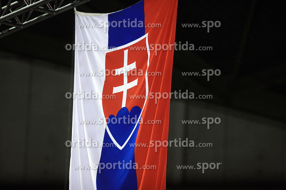 Flag of Slovakia after ice-hockey game Slovenia vs Slovakia at second game in  Relegation  Round (group G) of IIHF WC 2008 in Halifax, on May 10, 2008 in Metro Center, Halifax, Nova Scotia, Canada. Slovakia won after penalty shots 4:3.  (Photo by Vid Ponikvar / Sportal Images)