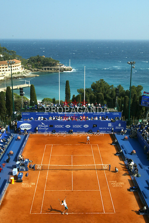 MONTE-CARLO, MONACO - Tuesday, April 15, 2003: Centre court with the Mediterranean Sea as a backdrop during the 1st Round of the Tennis Masters Monte-Carlo. (Pic by David Rawcliffe/Propaganda)