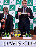 (L) Andrew Jarrett - ITF referee supervisor &amp; (R) Janusz Samel while official draw at Regent Hotel one day before the BNP Paribas Davis Cup 2014 between Poland and Croatia at Torwar Hall in Warsaw on April 3, 2014.<br /> <br /> Poland, Warsaw, April 3, 2014<br /> <br /> Picture also available in RAW (NEF) or TIFF format on special request.<br /> <br /> For editorial use only. Any commercial or promotional use requires permission.<br /> <br /> Mandatory credit:<br /> Photo by &copy; Adam Nurkiewicz / Mediasport