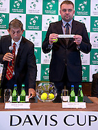 (L) Andrew Jarrett - ITF referee supervisor & (R) Janusz Samel while official draw at Regent Hotel one day before the BNP Paribas Davis Cup 2014 between Poland and Croatia at Torwar Hall in Warsaw on April 3, 2014.<br /> <br /> Poland, Warsaw, April 3, 2014<br /> <br /> Picture also available in RAW (NEF) or TIFF format on special request.<br /> <br /> For editorial use only. Any commercial or promotional use requires permission.<br /> <br /> Mandatory credit:<br /> Photo by © Adam Nurkiewicz / Mediasport
