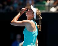 ELISE MERTENS (BEL)  jubelt nach ihrem Sieg, Jubel,Freude,Emotion,<br /> <br /> Tennis - Australian Open 2018 - Grand Slam / ATP / WTA -  Melbourne  Park - Melbourne - Victoria - Australia  - 23 January 2018.