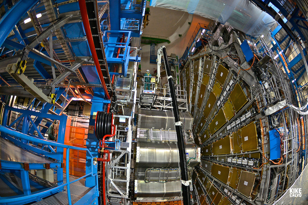 The ATLAS Cavern, located 92 m. below ground, hosts the detector, with its muon wheel, 240 tonnes end-cap magnets and 830 tonnes barrel toroid magnets. CERN, the European Organization for Nuclear Research, is the biggest particle physics laboratory in the world.