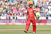 Lancashires Alex Davies on his way back after being run out during the Vitality T20 Finals Day semi final 2018 match between Worcestershire Rapids and Lancashire Lightning at Edgbaston, Birmingham, United Kingdom on 15 September 2018.