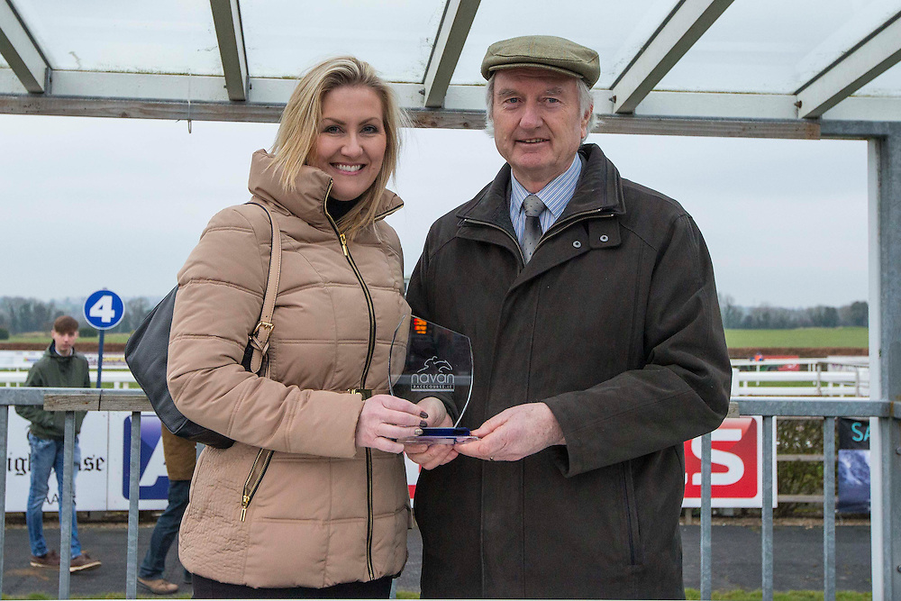 Navan Races, Saturday 27th February 2016.<br /> Dearbhla Meade accepts the trophy from William Flood (Navan Racecourse) after Gettysburg Address won the Athboy Pro/Am Flat<br /> Photo: David Mullen /www.cyberimages.net / 2016