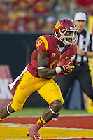 01 September 2012: Wide receiver (9) Marquise Lee of the USC Trojans returns a kickoff for a touchdown against the Hawaii Warriors during the second half of USC's  49-10 victory over Hawaii at the Los Angeles Memorial Coliseum in Los Angeles, CA.
