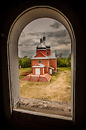 Ukranian Church from window of belltower, Alberta Canada