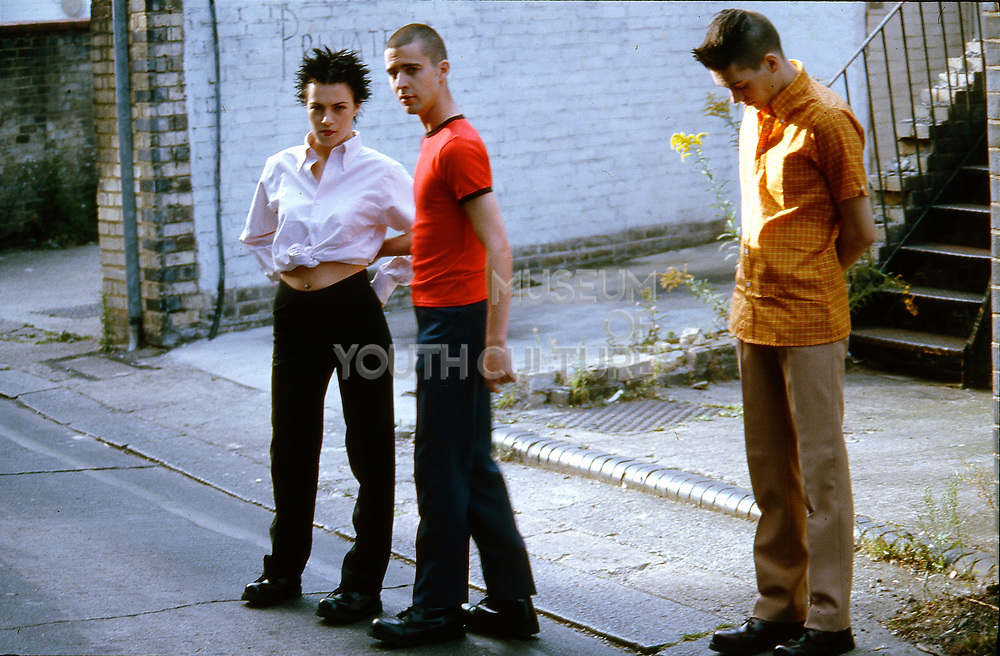 Band stood outside, UK, 1990s.