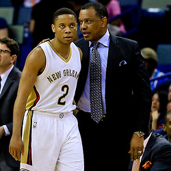 Mar 28, 2016; New Orleans, LA, USA; New Orleans Pelicans head coach Alvin Gentry talks to guard Tim Frazier (2) during the second quarter of a game against the New York Knicks at the Smoothie King Center. Mandatory Credit: Derick E. Hingle-USA TODAY Sports