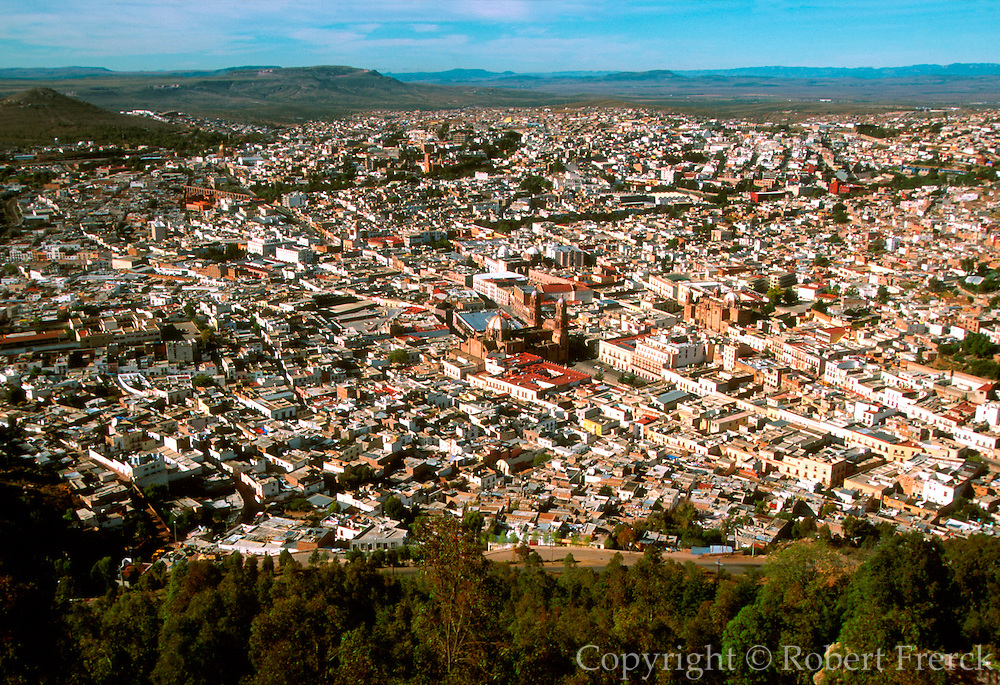 MEXICO, COLONIAL CITIES, ZACATECAS One of Mexico's richest and most elegant silver mining towns with the Cathedral at center (overview)