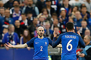 France's defender Christophe Jallet and France's midfielder Corentin Tolisso gesture during the Friendly Game football match between France and Spain on March 28, 2017 at the Stade de France in Saint-Denis, France - Photo Benjamin Cremel / ProSportsImages / DPPI
