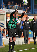 Rochdale Defender, Joe Rafferty with a throw in during the Sky Bet League 1 match between Bury and Rochdale at Gigg Lane, Bury, England on 17 October 2015. Photo by Mark Pollitt.