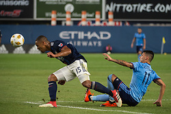 September 5, 2018 - Bronx, New York, United States - New England Revolution midfielder BRANDON BYE #15 heads the ball away from New York City midfielder VALENTIN CASTELLANOS #11 during a regular season match at Yankee Stadium in Bronx, NY.  New England Revolution defeats New York City FC 1 to 0 (Credit Image: © Mark Smith/ZUMA Wire)