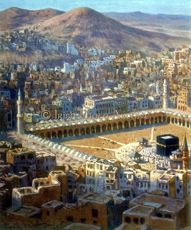View of Mecca. Illustration from 'La Vie de Mohammed,  Prophete d'Allah' (The Life of Mohammed, Prophet of Allah).