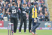 Worcestershire Celebrate the wicket of Adam Wheater during the NatWest T20 Blast Quarter Final match between Worcestershire County Cricket Club and Hampshire County Cricket Club at New Road, Worcester, United Kingdom on 14 August 2015. Photo by David Vokes.