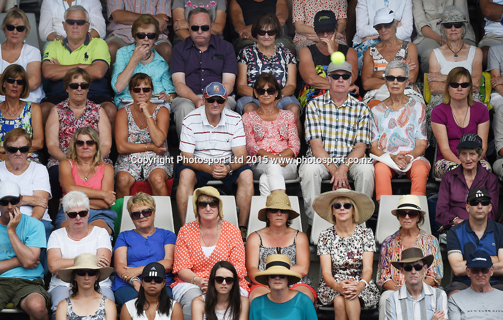 Tennis fans on Quarter Finals day at the ASB Classic WTA International. Auckland, New Zealand. Thursday 8 January 2015. Copyright photo: Andrew Cornaga/www.photosport.co.nz