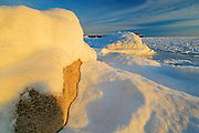 Sunrise on ice in Isthmus Bay (Georgian Bay)<br /> Bruce Peninsula National Park<br /> Ontario<br /> Canada