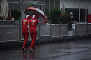 October 23-25, 2015: United States GP 2015: Rain in the F1 paddock in Austin.