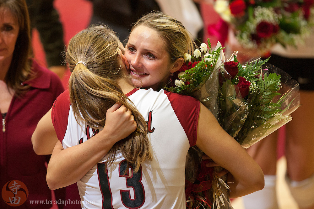 November 25, 2006; Stanford, CA, USA; Stanford Cardinal outside hitter Kristin Richards (10) hugs middle blocker Lizzie Suiter (13) during senior night before the game against the Washington State Cougars at Maples Pavilion. The Cardinal defeated the Cougars 30-27, 30-23, 30-18.