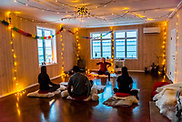 Kundalini yoga class at Catogarden B&B, Reine, Lofoten Islands, Arctic, Northern Norway.