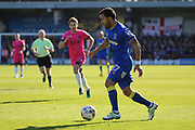 AFC Wimbledon striker Andy Barcham (17) dribbling during the EFL Sky Bet League 1 match between AFC Wimbledon and Southend United at the Cherry Red Records Stadium, Kingston, England on 25 March 2017. Photo by Matthew Redman.