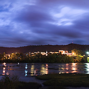 Moonlit Night over Hinton from across the New River. Greenbrier County, West Virginia.
