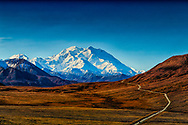 View from Stony Point in Denali National Park, showing the park road and Denali (Mt. McKinely), summer, afternoon