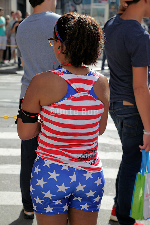 woman in American flag sport clothing
