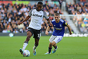 Derby County midfielder Florian Jozefzoon during the EFL Sky Bet Championship match between Derby County and Birmingham City at the Pride Park, Derby, England on 28 September 2019.