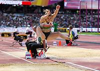 Athletics - 2017 IAAF London World Athletics Championships - Day Three, Morning Session<br /> <br /> Women's Hepathlon - Long Jump<br /> <br /> Carolin Schafer (Germany) launches herself into long jump pit at London Stadium<br /> <br /> COLORSPORT/DANIEL BEARHAM