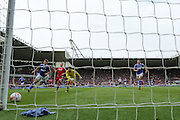 Middlesbrough forward Jordan Rhodes (9) attempt goes just wide during the Sky Bet Championship match between Middlesbrough and Ipswich Town at the Riverside Stadium, Middlesbrough, England on 23 April 2016. Photo by Simon Davies.