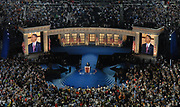 Democratic Presidential candidate Barack Obama takes the stage during the Democratic National Convention's final event at Invesco Field, August 28, 2008.