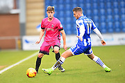 Hartlepool player Liam Donnelly passes the ball pass a defender in the first half during the EFL Sky Bet League 2 match between Colchester United and Hartlepool United at the Weston Homes Community Stadium, Colchester, England on 25 February 2017. Photo by Ian Muir.