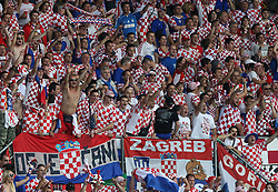 Croatian fans during the UEFA EURO 2008 Quarter-Final soccer match between Croatia and Turkey at Ernst-Happel Stadium, on June 20,2008, in Wien, Austria. Turkey won after penalty shots. (Photo by Vid Ponikvar / Sportal Images)
