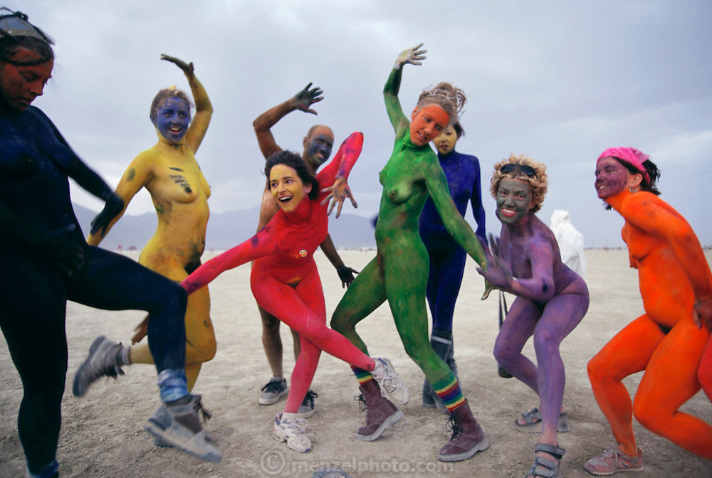 Body painted dancers at Burning Man. Burning Man is a performance art festival known for art, drugs and sex. It takes place annually in the Black Rock Desert near Gerlach, Nevada, USA.