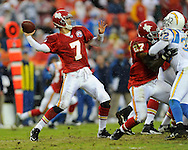 October 25, 2009:   Quarterback Matt Cassel #7 of the Kansas City Chiefs throws the ball down field in the third quarter against the San Diego Chargers at Arrowhead Stadium in Kansas City, Missouri.  The Chargers defeated the Chiefs 37-7...