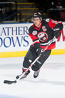 KELOWNA, CANADA - NOVEMBER 9: Brayden Point #19 of Team WHL skates with the puck against the Team Russia on November 9, 2015 during game 1 of the Canada Russia Super Series at Prospera Place in Kelowna, British Columbia, Canada.  (Photo by Marissa Baecker/Western Hockey League)  *** Local Caption *** Brayden Point;