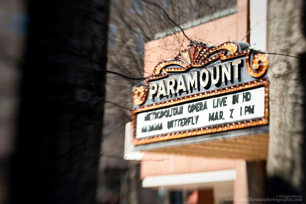 Marquee of the Paramount Theater in Charlottesville, Virginia advertising the Metropolitan Opera Live simulcast.