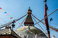 The Eyes of Buddha on the Boudhanath stupa in Kathmandu, Nepal.