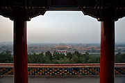 Jingshan (Coal Hill) Park. View over the Gugong (Forbidden City), Shenwumen (Gate of the Divine Warrior) in front.